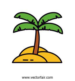 tropical palm in beach, line and fill style