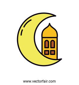 crescent moon and mosque icon, line and fill style