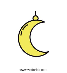 EID mubarak concept, crescent moon icon, line and fill style