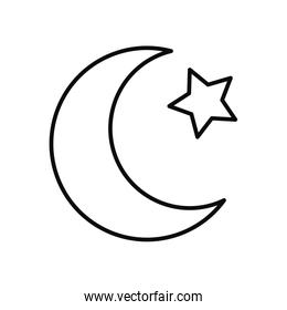 EID mubarak concept, crescent moon and star icon, line style