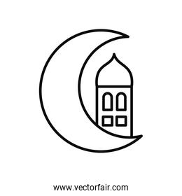 crescent moon and mosque icon, line style