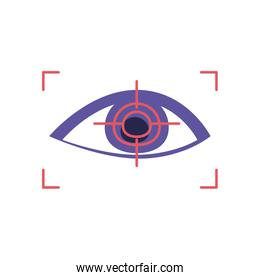 eye with focus rectangle flat style icon vector design