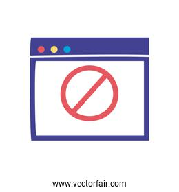 Website with forbidden symbol flat style icon vector design
