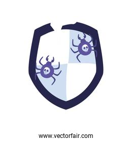 Spiders with skulls inside shield flat style icon vector design