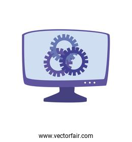 Computer with gears flat style icon vector design
