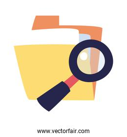 file and lupe flat style icon vector design