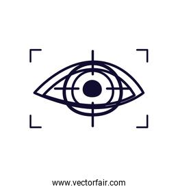 eye with focus rectangle line style icon vector design