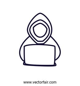 Hacker with laptop line style icon vector design