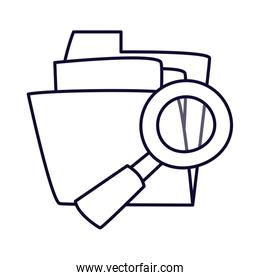 file and lupe line style icon vector design