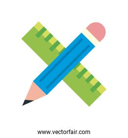 Ruler and pencil flat style icon vector design