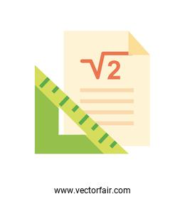 Ruler and paper flat style icon vector design
