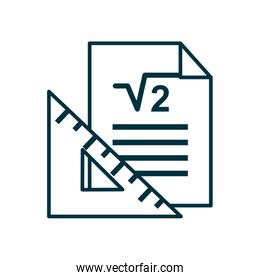 Ruler and paper line style icon vector design