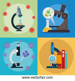 set of microscopes with particles covid 19 and medical icons