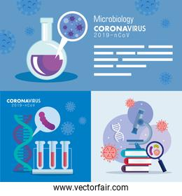 set poster of microbiology for covid 19 and medical icons