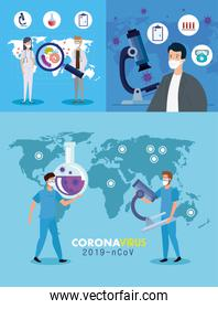 set poster of covid 19 with staff medical and icons medicine
