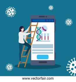 doctor female with medicine online by test of covid 19