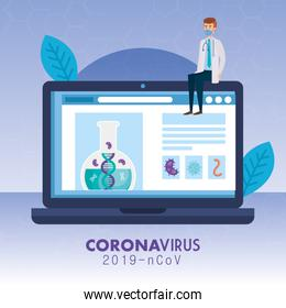 doctor with medicine online by test of covid 19