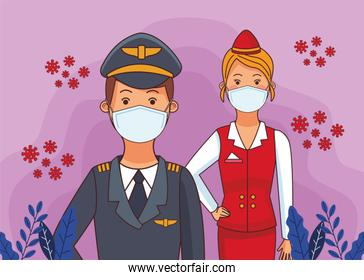 pilot worker and receptionist using face masks