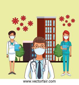 doctors staff workers profession using face masks