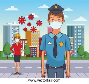 female architect and police using face masks