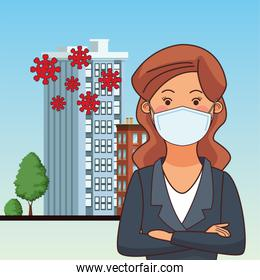 businesswoman worker profession using face mask