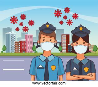 polices couple workers profession using face masks