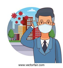 businessman worker profession using face mask