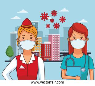 female doctor and receptionist using face masks