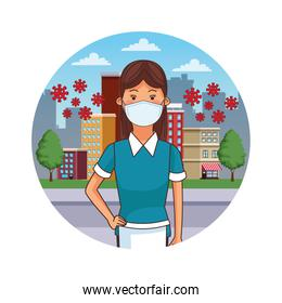 female cleaner worker profession using face mask