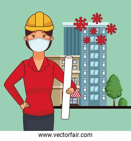 female architect worker profession using face mask