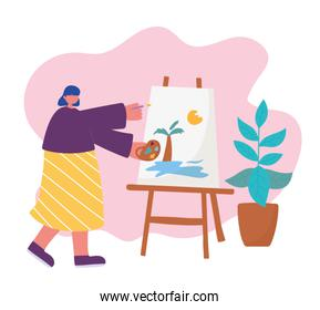 people activities, woman artist drawing on canvas holding palette color in hand and brush