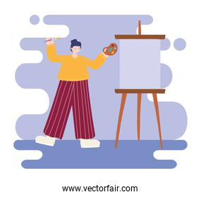 people activities, woman artist drawing on canvas empty holding palette color