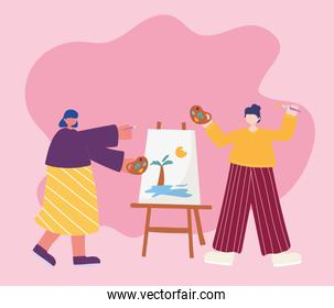 people activities, women artist drawing on canvas holding palette color in hand and brush
