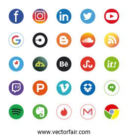 Social media and apps flat style icon set vector design