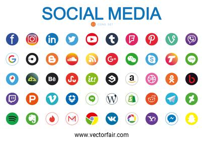 50 Social media and apps flat style icon set vector design