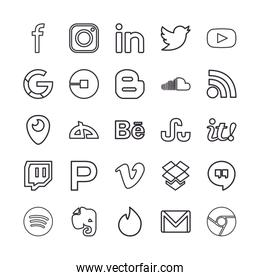 Social media and apps line style icon set vector design
