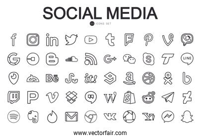 50 Social media and apps line style icon set vector design
