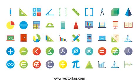 Math flat style icon set vector design