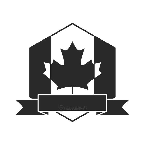 canada day, canadian flag maple leaf and ribbon emblem silhouette style icon