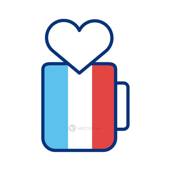 france flag in mug with heart line style