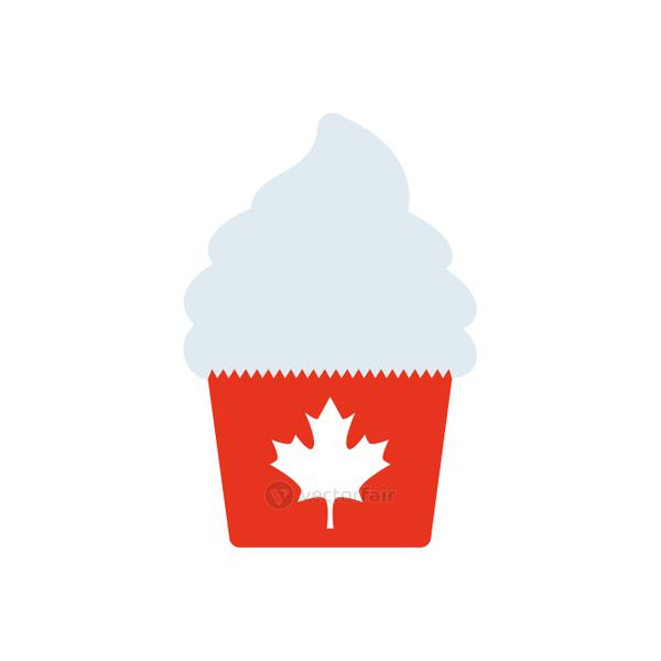 Canada day cupcake icon, silhouette style