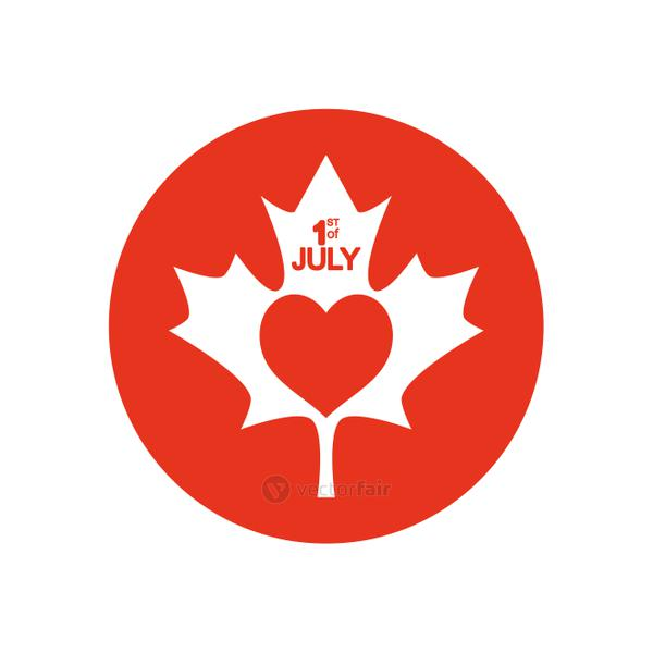 Canada day concept, maple leaf with heart icon, block silhouette style