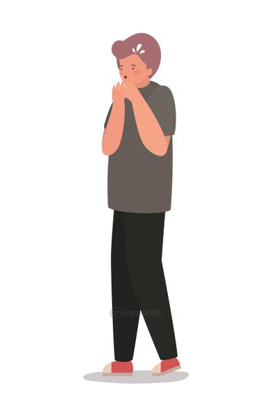 Isolated boy avatar with dry cough vector design