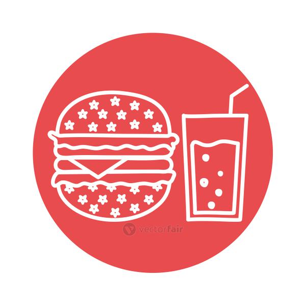 hamburger and drink glass block style icon vector design