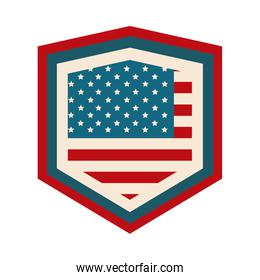 happy independence day, american flag shield patriotism design flat style icon