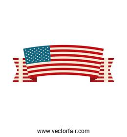happy independence day, ribbon with american flag decoration flat style icon