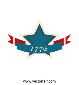 happy independence day, american commemoration national ribbon star flat style icon