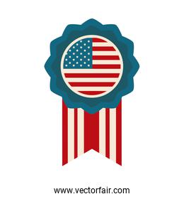 happy independence day, american flag medal insignia design flat style icon