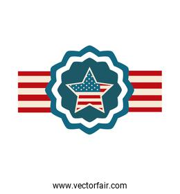 happy independence day, american flag star banner emblem flat style icon