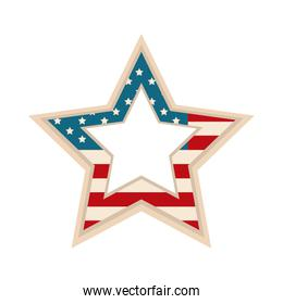 happy independence day, american flag shaped star patriotic flat style icon